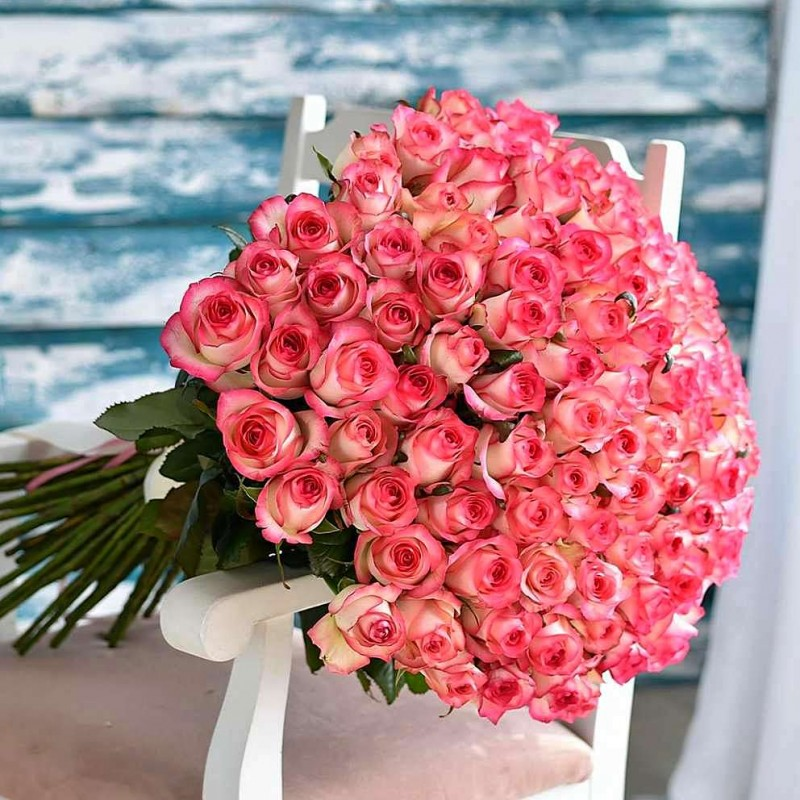 Bouquet 101 pink and white roses