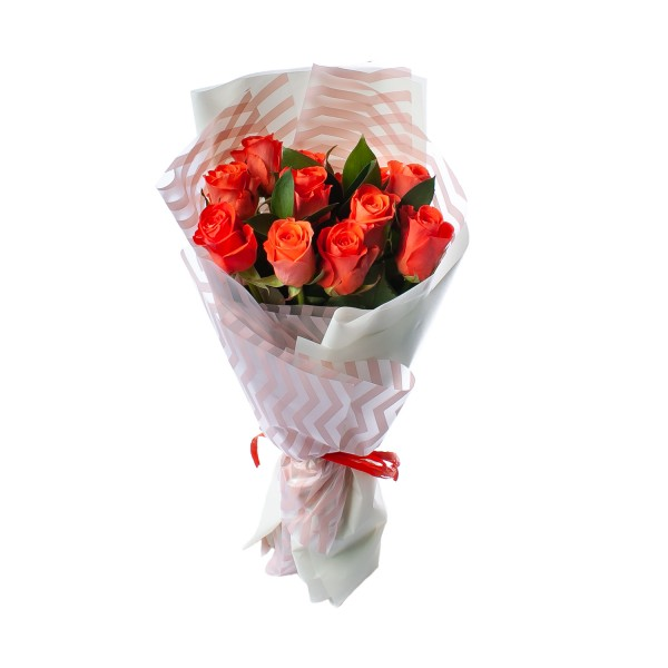 Bouquet of 11 coral roses
