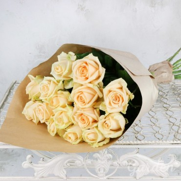 Bouquet of 15 peach roses