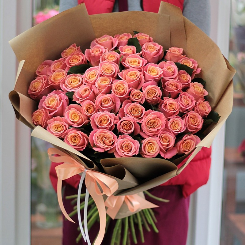 Bouquet 51 peach roses