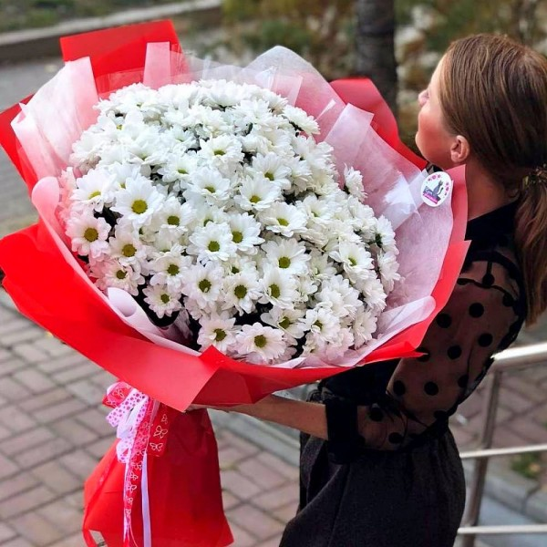 Bouquet of 21 white chrysanthemums