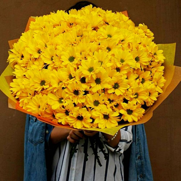 Bouquet of 21 yellow chrysanthemums