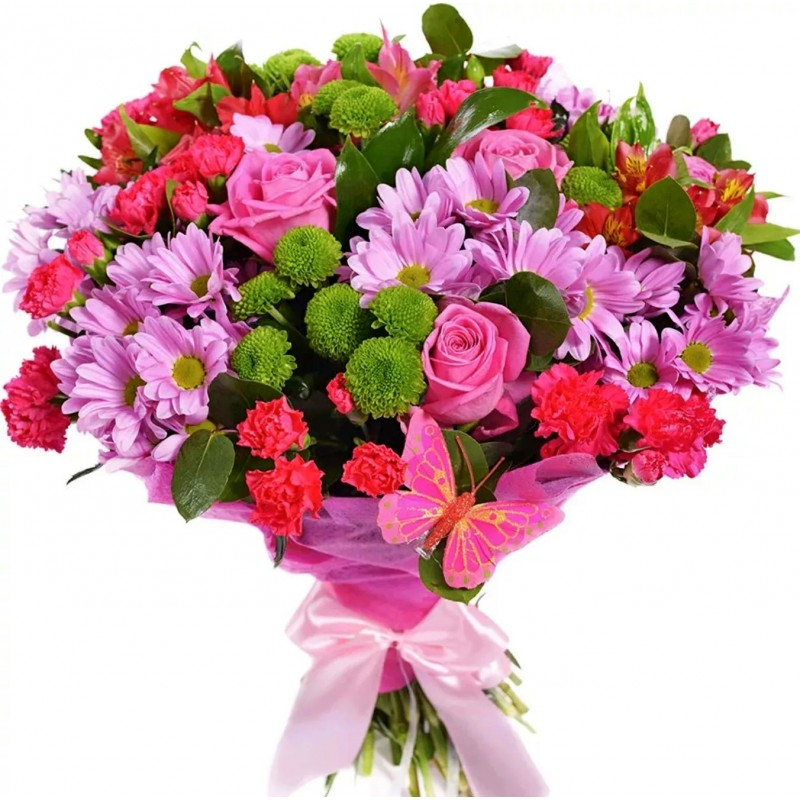 Bouquet Openwork - chrysanthemums, alstroemeria and roses