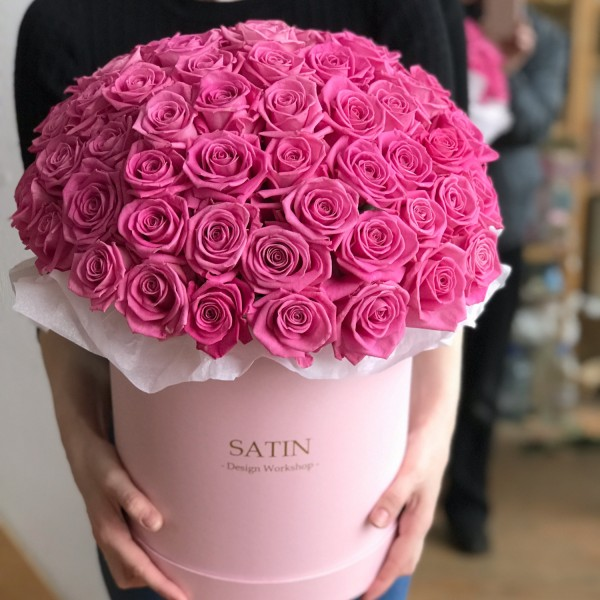Hatbox 51 pink roses