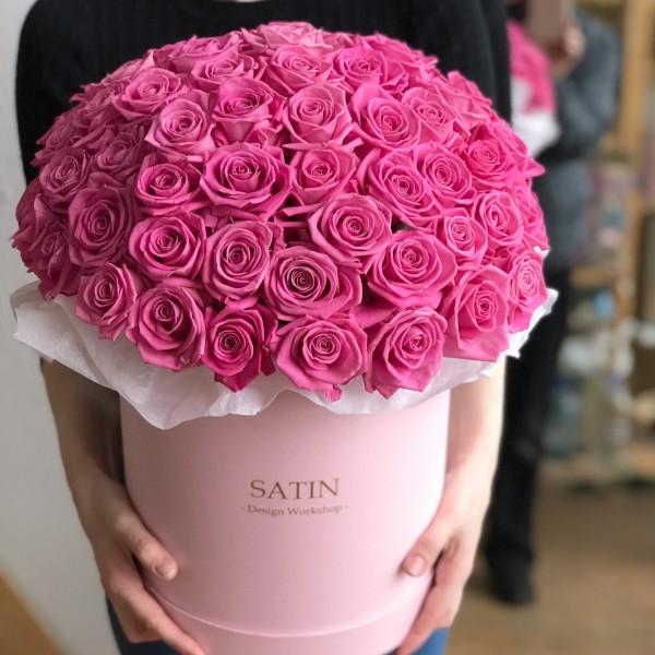 Hatbox 51 pink roses