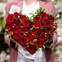 Heart box with red roses