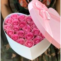 Heart box with pink roses
