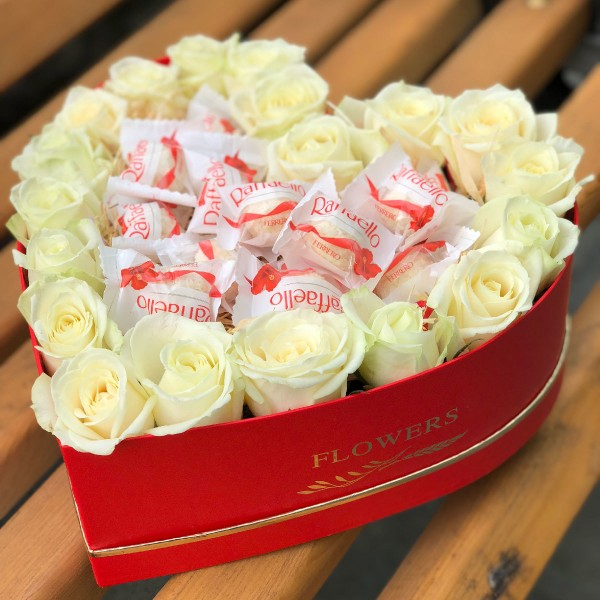 Box heart with white roses and Raffaello