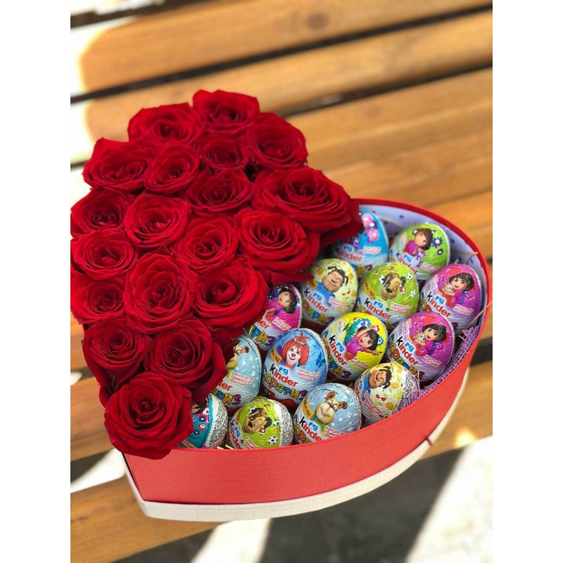 Box heart with red roses and kinders