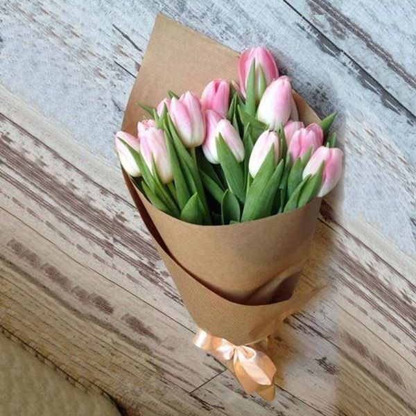 Bouquet of 15 pink tulips