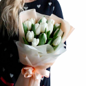 Bouquet of 15 white tulips